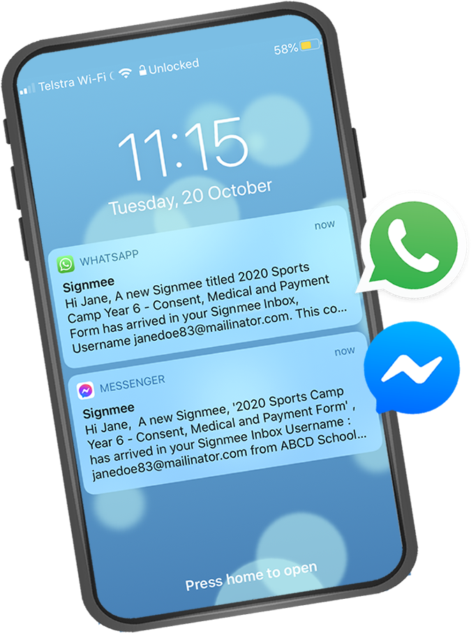 Image of home screen on iPhone, showing a WhatsApp alert and a Messenger alert from Signmee